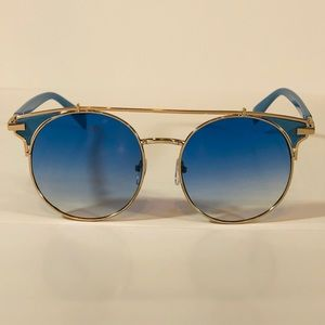 Other - Gold/Blue Browbar Sunglasses